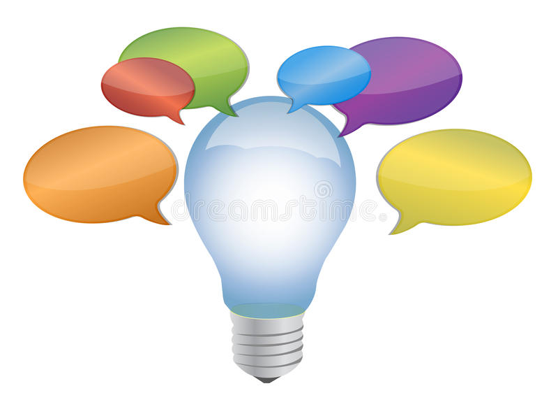 Ampoule avec des bulles de message autour de elle illustration de vecteur