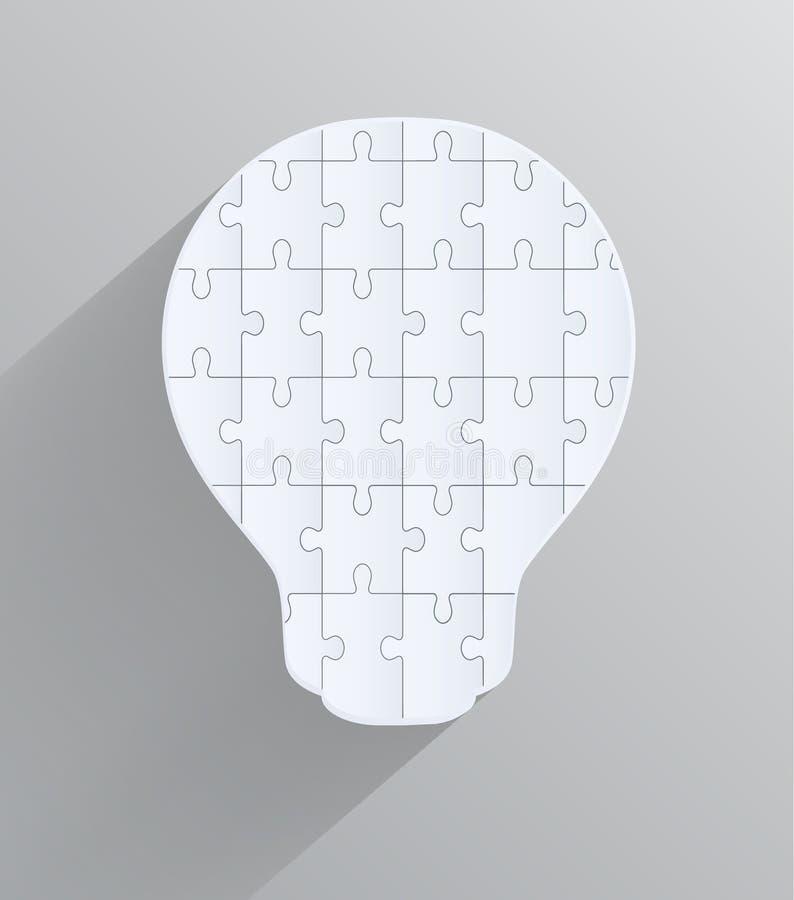 Ampoule avec des morceaux de puzzles, conception créative illustration stock