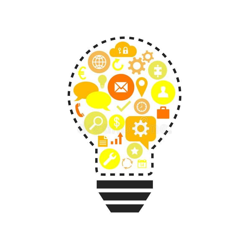 Ampoule avec différentes icônes d'affaires illustration stock