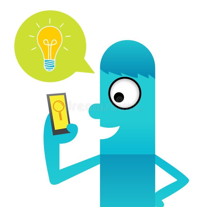 Ampoule avec l'application d'idée illustration libre de droits