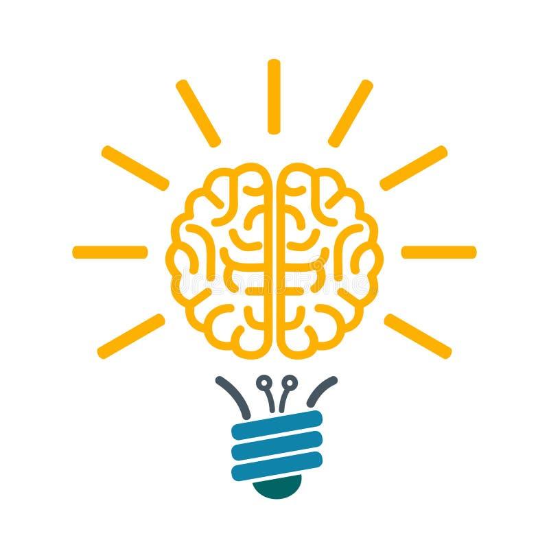 Ampoule avec l'esprit humain, faisant un brainstorm le concept - vecteur illustration stock