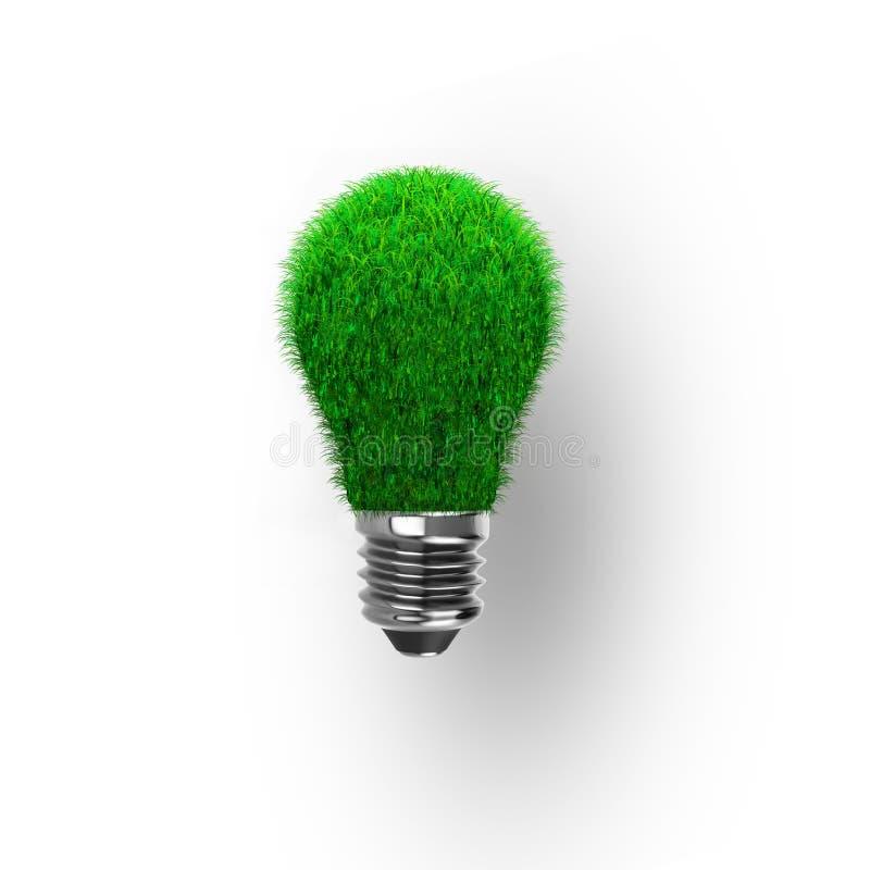 Ampoule avec l'herbe verte pour le concept d'ECO, illustration 3D illustration de vecteur