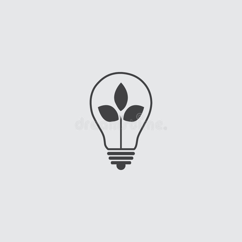 Ampoule avec l'icône de feuille dans une conception plate dans la couleur noire Illustration EPS10 de vecteur illustration libre de droits