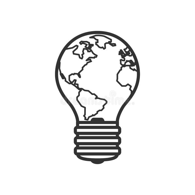 Ampoule avec l'icône plate d'ensemble de la terre de planète illustration de vecteur
