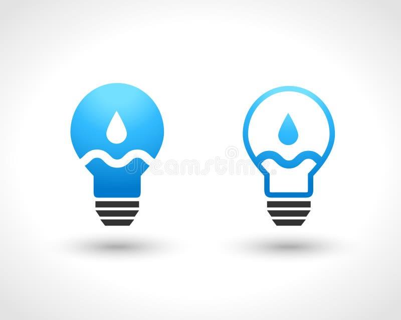 Ampoule avec la baisse et la vague de l'eau illustration de vecteur