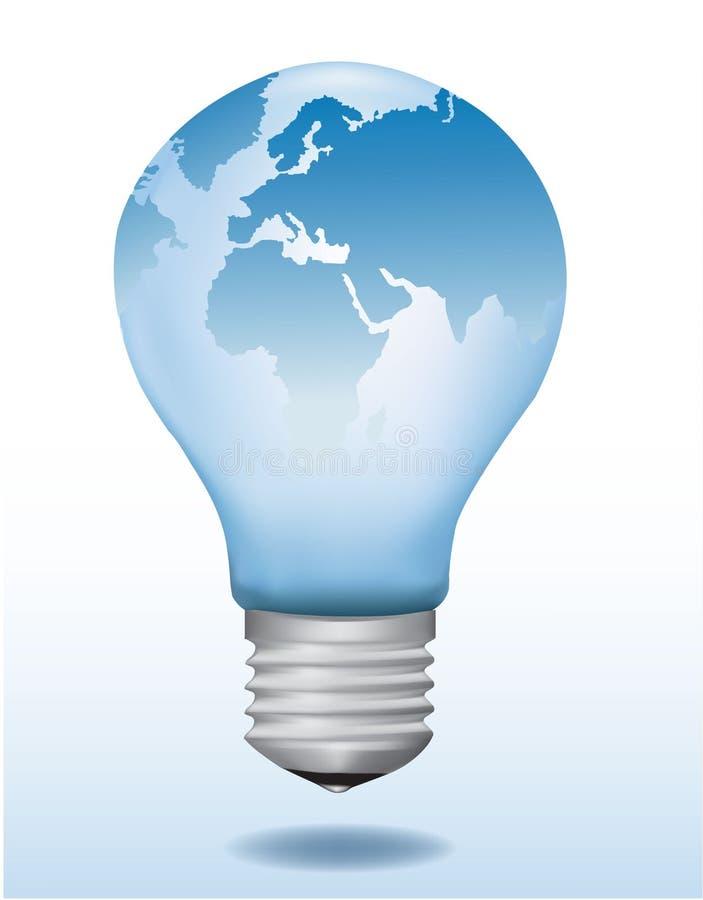 Ampoule avec la carte du monde là-dessus. illustration de vecteur