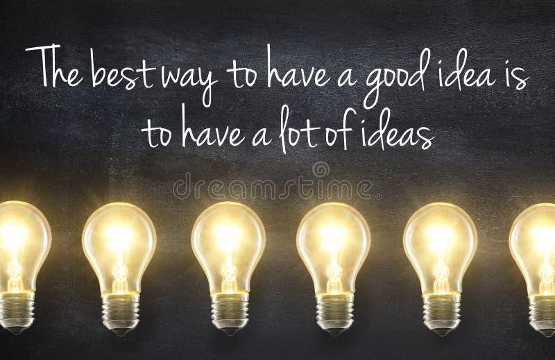 Ampoule avec la citation d'idée photos stock