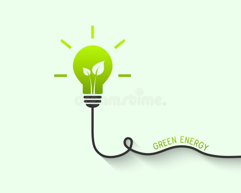 Ampoule avec la feuille en tant que concept vert d'énergie illustration libre de droits