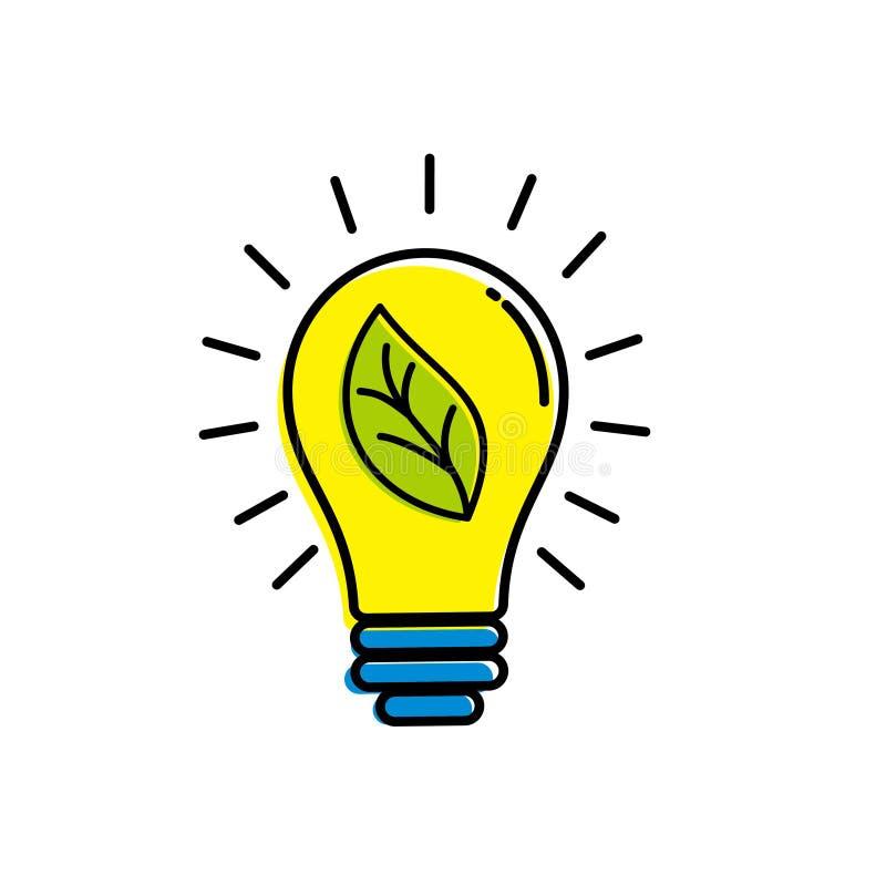 Ampoule avec la feuille sur l'illustration intérieure de vecteur illustration de vecteur