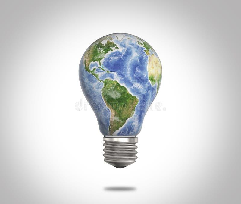 Ampoule avec la réflexion de la terre de planète à l'intérieur de elle Des éléments cette image sont fournis par la NASA illustration libre de droits