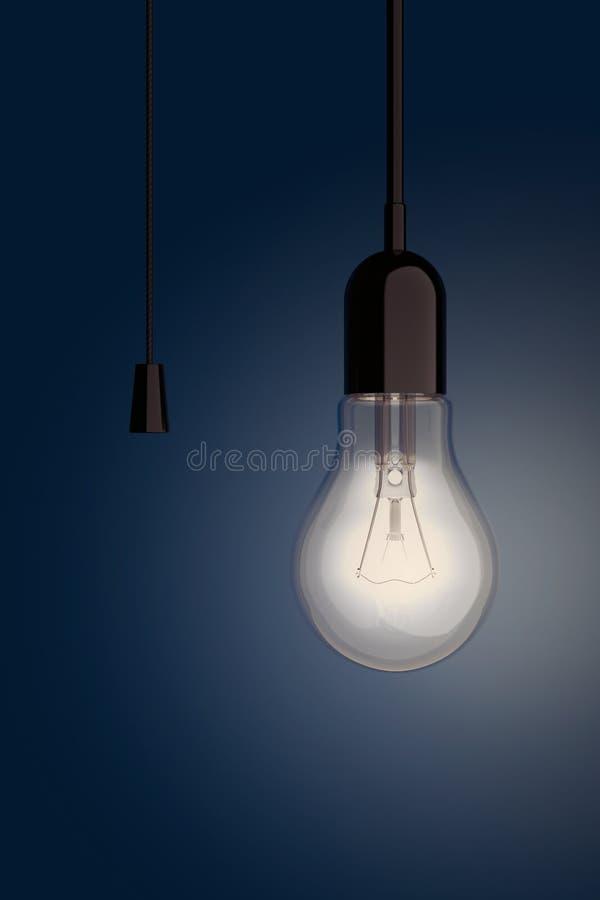 Ampoule avec le commutateur de corde rendu 3d illustration libre de droits