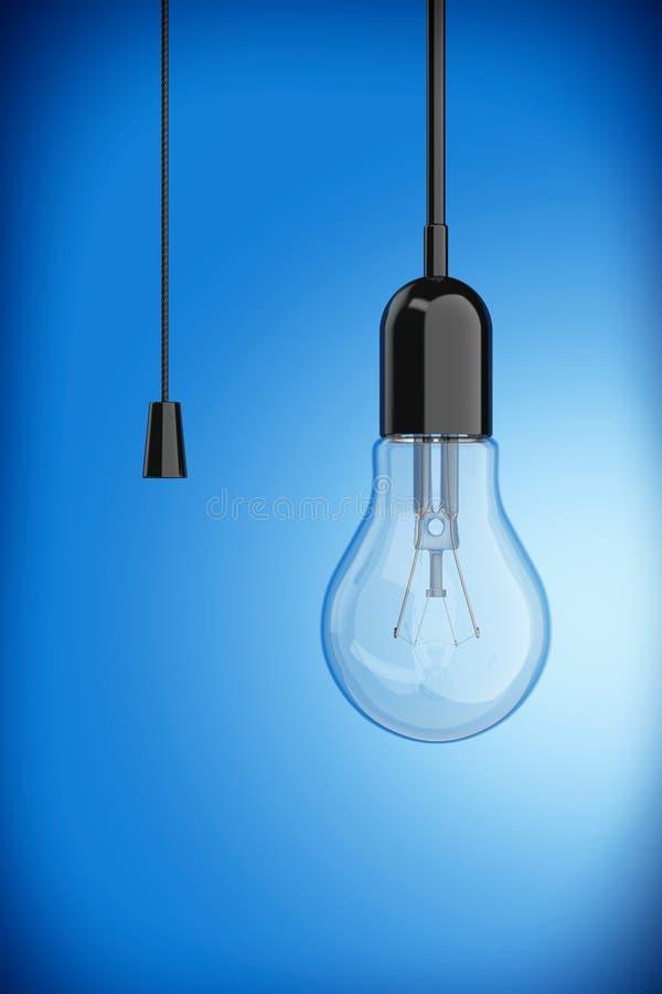 Ampoule avec le commutateur de corde rendu 3d illustration de vecteur