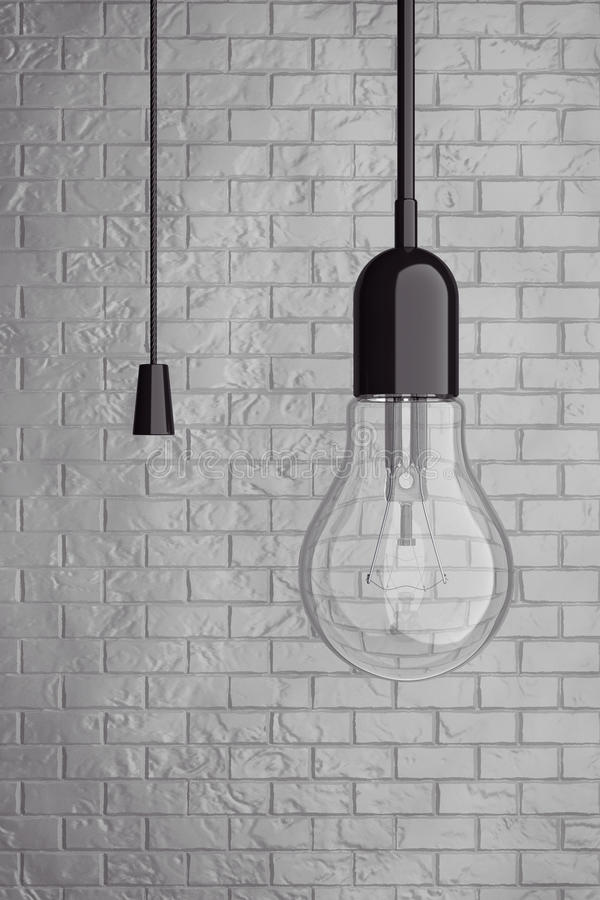 Ampoule avec le commutateur de corde rendu 3d illustration stock