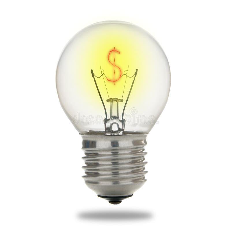 Ampoule avec le dollar photographie stock libre de droits