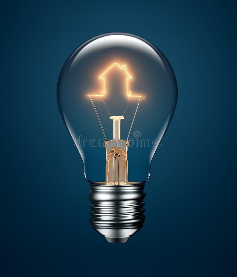 Ampoule avec le filament formant une icône de Chambre illustration de vecteur
