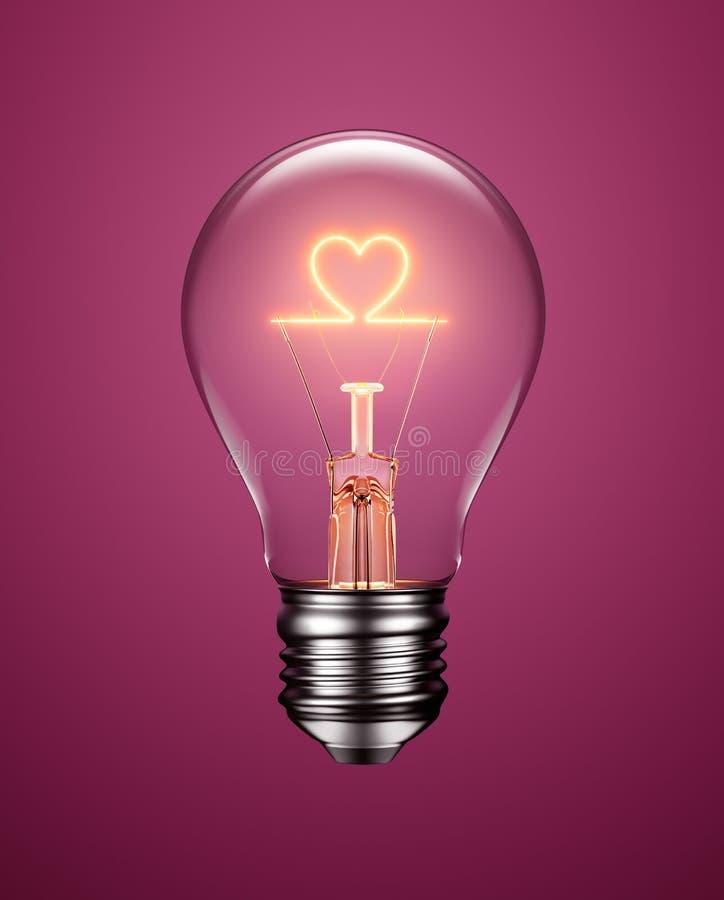 Ampoule avec le filament formant une icône de coeur illustration de vecteur