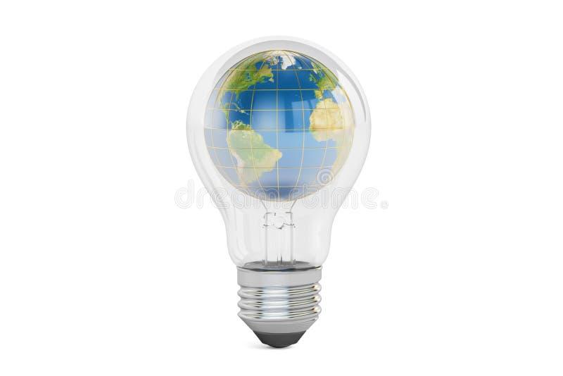 Ampoule avec le globe de la terre à l'intérieur, concept d'énergie d'économies 3d les déchirent illustration libre de droits