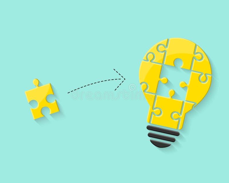 Ampoule avec le morceau de puzzle comme concept d'idée illustration libre de droits
