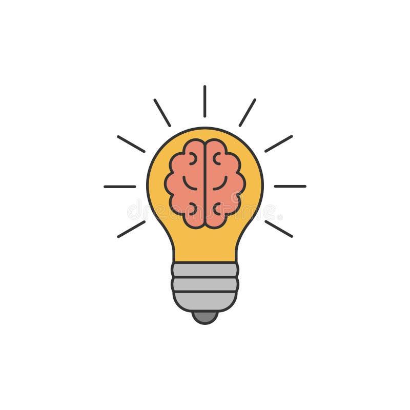 Ampoule avec un cerveau à l'intérieur de ligne plate illustration libre de droits