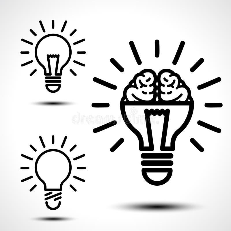 Ampoule avec un cerveau illustration de vecteur