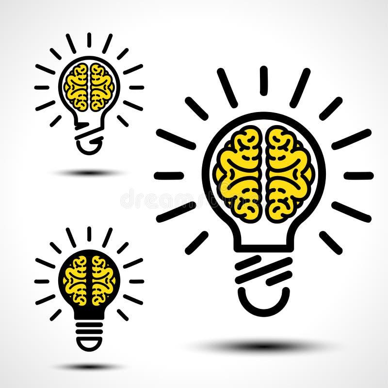 Ampoule avec un cerveau illustration libre de droits