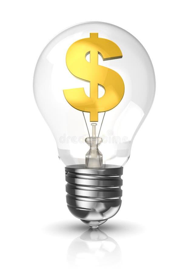 Ampoule avec un symbole dollar illustration libre de droits