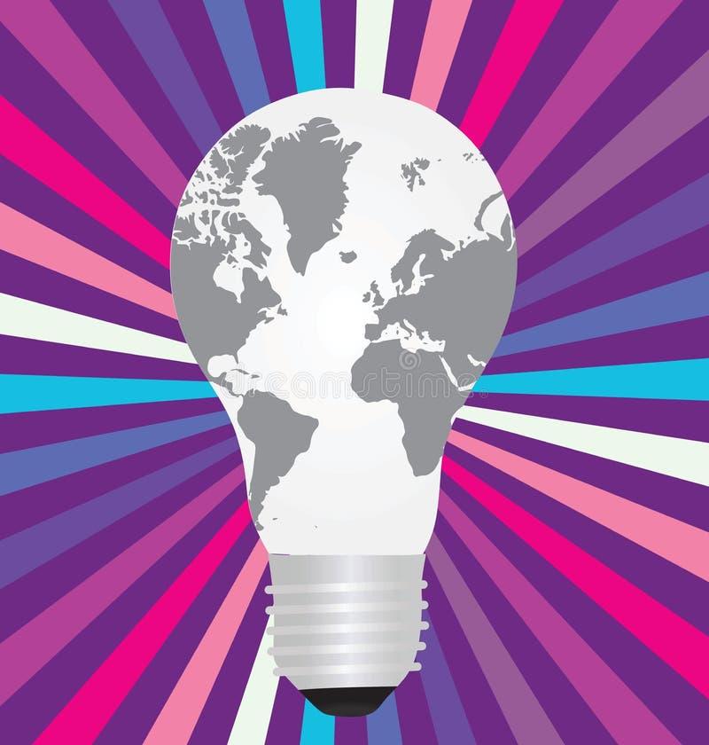 Ampoule avec une carte du monde à l'intérieur illustration de vecteur
