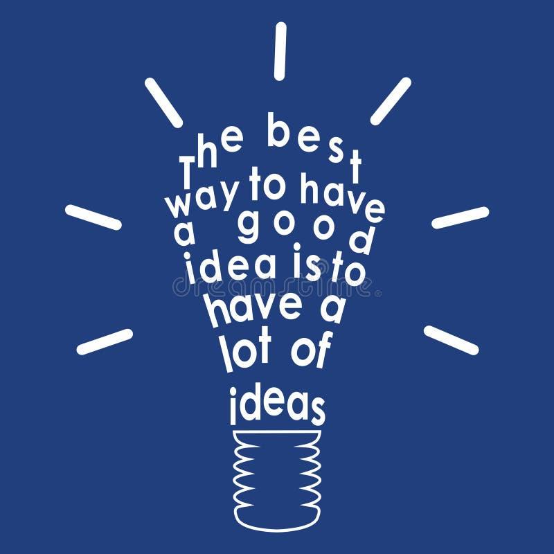 Ampoule avec une citation. Vecteur illustration de vecteur