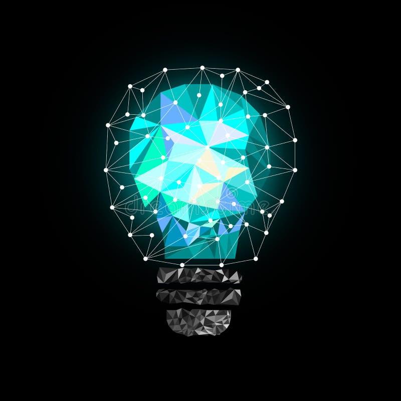 Ampoule bleu-clair de bas poly style Illustration abstraite de vecteur sur le fond noir illustration libre de droits