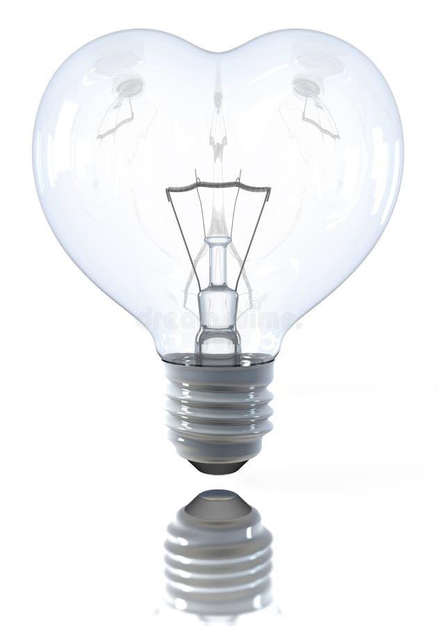 Ampoule classique en forme de coeur, coupée illustration stock