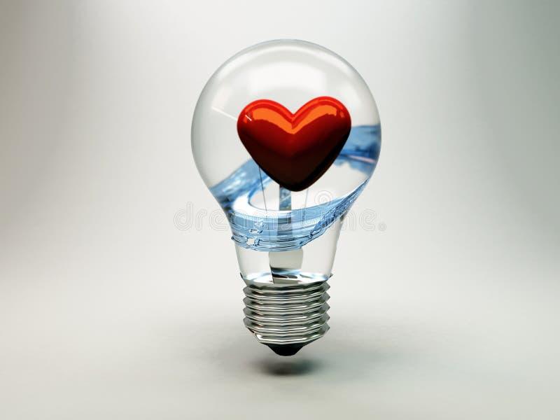 Ampoule contenant le coeur illustration stock