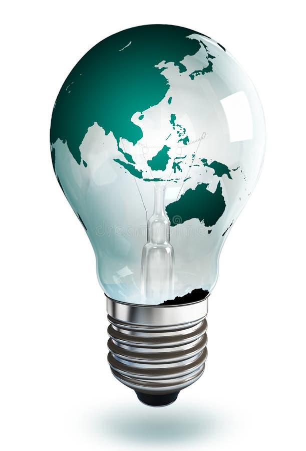 Ampoule continente d'Australie sur le fond blanc illustration libre de droits