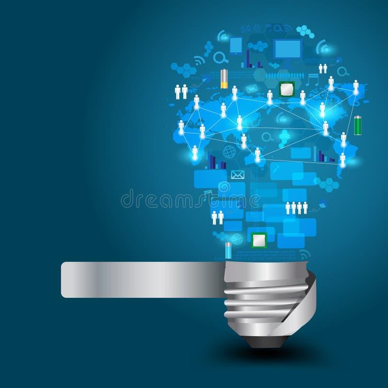 Ampoule de vecteur avec le réseau d'affaires de technologie illustration de vecteur