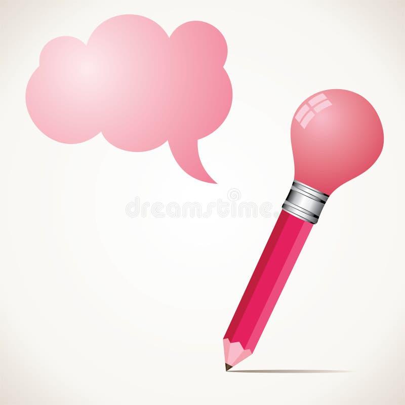 Ampoule d'esprit de crayon et bulle roses de message illustration de vecteur