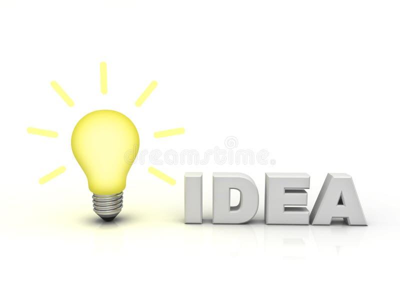 Ampoule d'idée avec l'idée de mot illustration stock