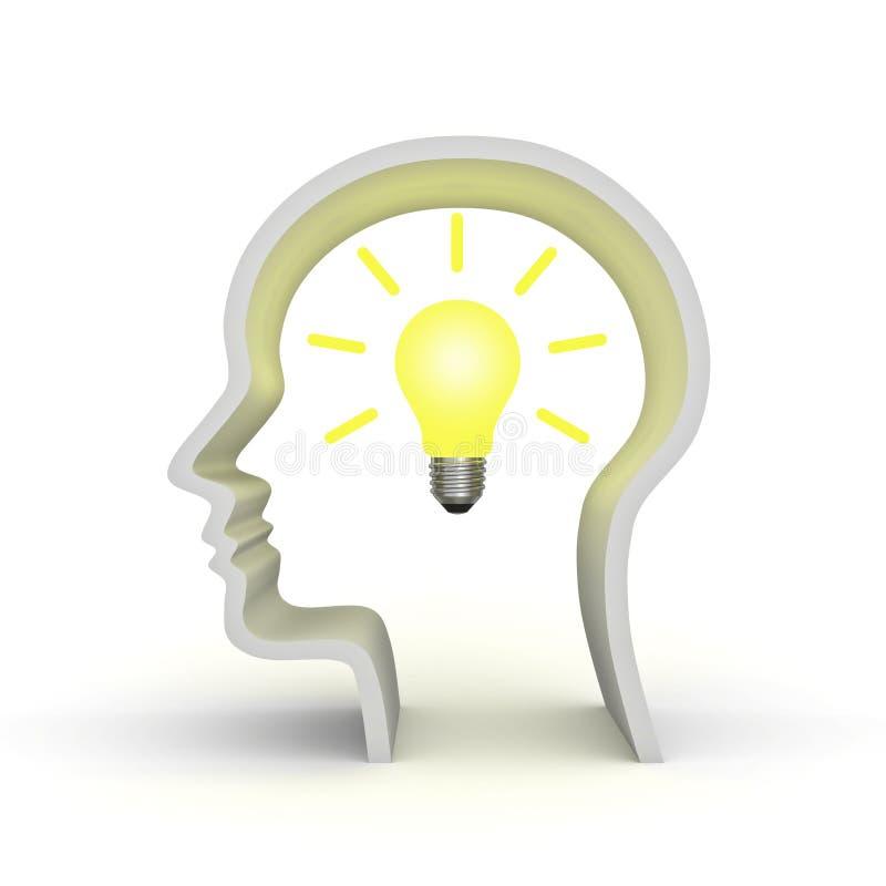 Ampoule d'idée dans la tête humaine illustration de vecteur