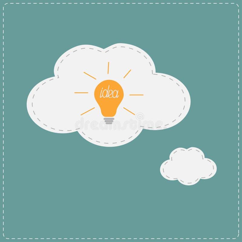 Ampoule d'idée en nuage de bulle de pensée plat illustration de vecteur