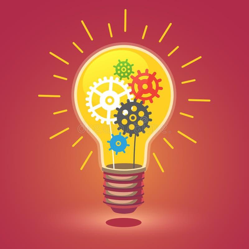 Ampoule d'idée lumineuse brillante avec des dents illustration stock