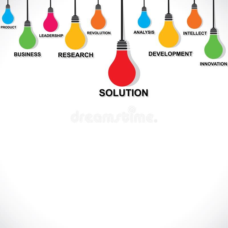 Ampoule de couleur avec le mot d'affaires illustration stock