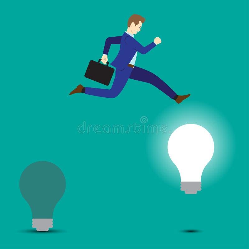 Ampoule de Jumping To Bright d'homme d'affaires illustration libre de droits
