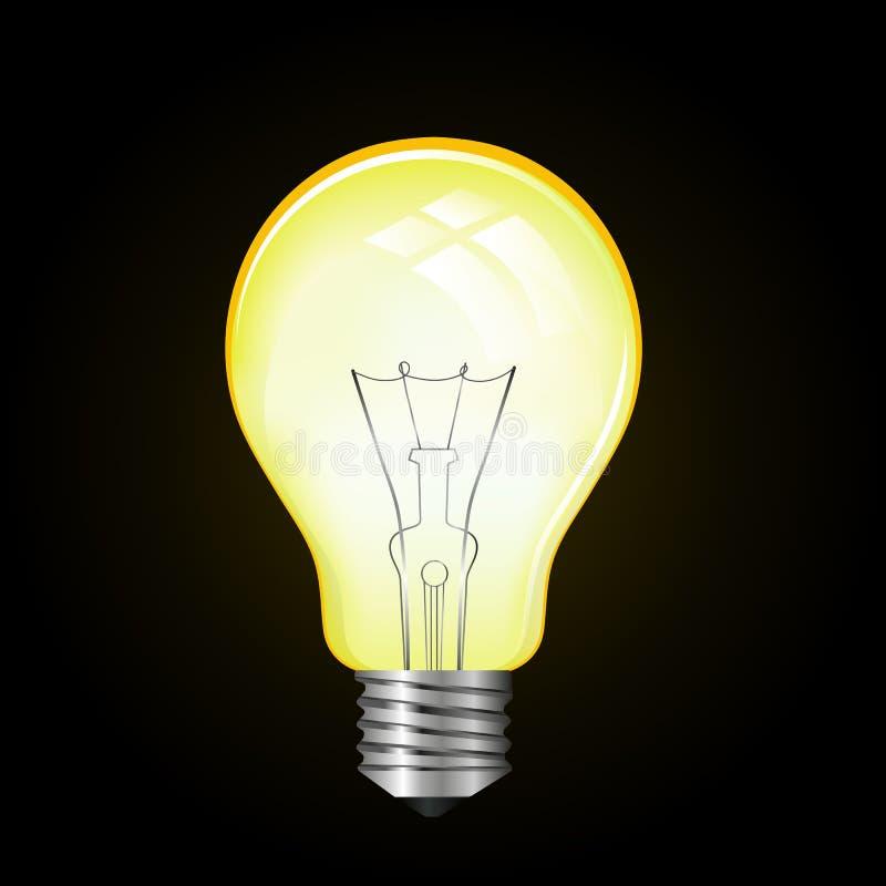 Ampoule de lampe de vecteur sur le fond de blak illustration stock