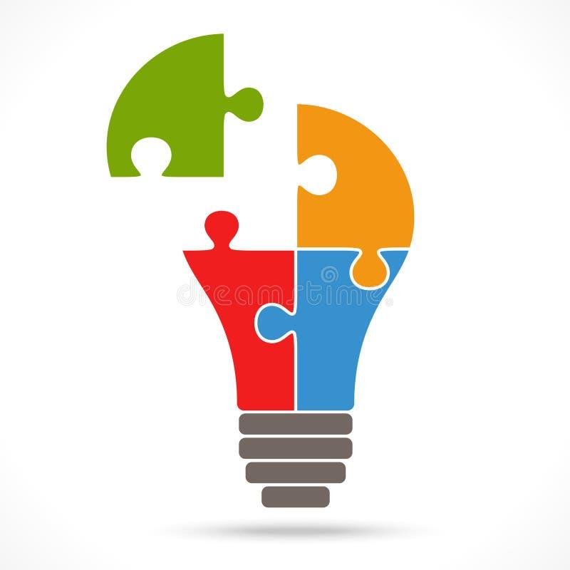 ampoule de puzzle de travail d'équipe illustration de vecteur