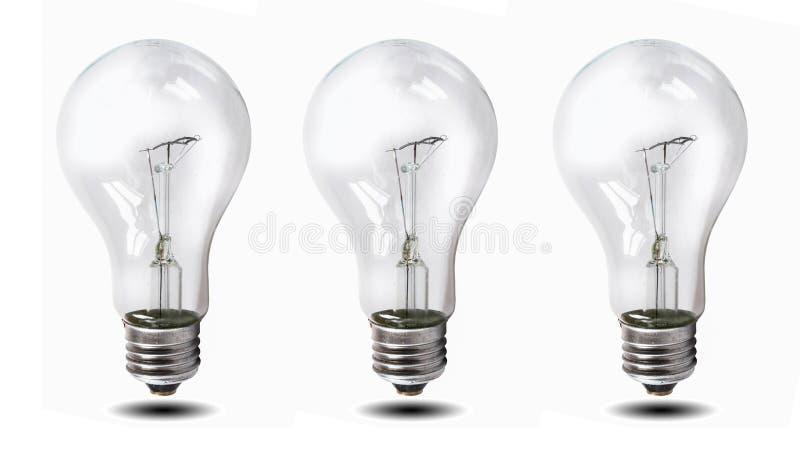 Ampoule de tungstène d'isolement au-dessus du fond blanc photos stock