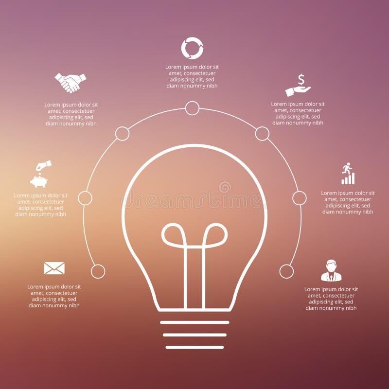 Ampoule de vecteur avec des cercles pour infographic illustration libre de droits