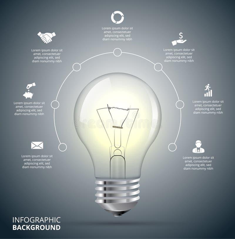Ampoule de vecteur avec le cercle pour infographic illustration libre de droits