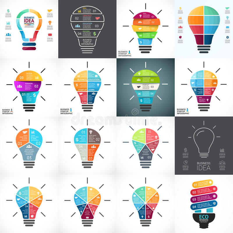 Ampoule de vecteur infographic Calibre pour le diagramme de cercle, le graphique, la présentation et le diagramme rond Idée de dé illustration de vecteur