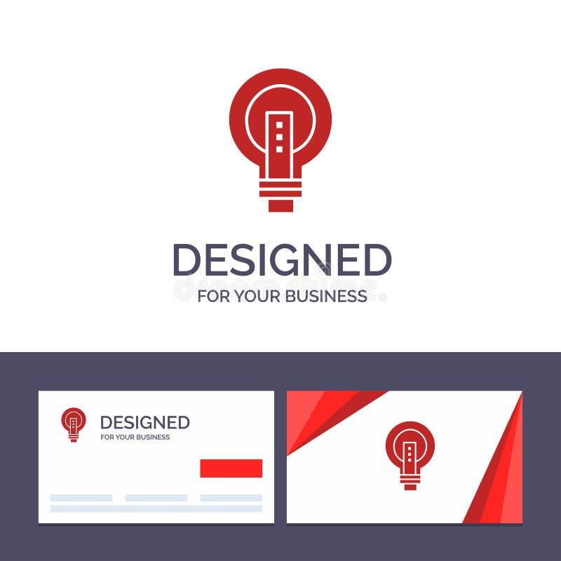 Ampoule de visite de calibre créatif de carte de visite professionnelle et de logo, lumineuse, affaires, idée, lumière, ampoule,  illustration libre de droits