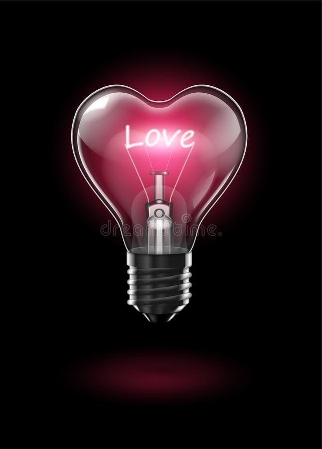 Ampoule en forme de coeur rougeoyante transparente sur un fond foncé avec l'amour de mot au lieu d'un filament de tungstène forte illustration libre de droits