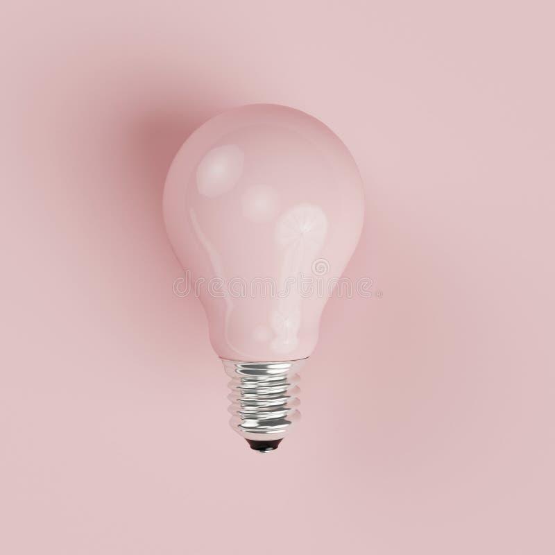 Ampoule en pastel rose sur le fond en pastel rose photographie stock libre de droits