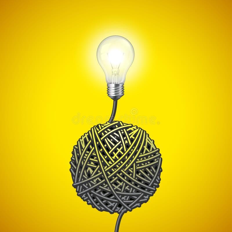 Ampoule et fil embrouillé sur le fond jaune illustration libre de droits